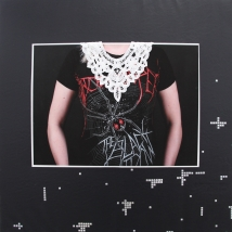 "Black Widow, leatherette with digital image, 48"" x 48"", 2015"